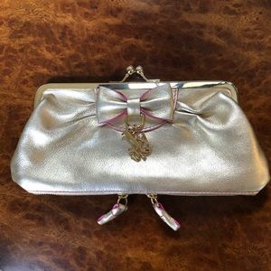 Juicy Couture Gold Bow Leather Clutch